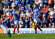 Portsmouth's Adam McGurk celebrates his goal during the Sky Bet League 2 match between Portsmouth and Barnet at Fratton Park, Portsmouth, England on 12 September 2015. Photo by David Charbit.