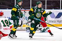 2019-12-02 | Umeå, Sweden:Björklöven (12) Brian Cooper say what have i done in  HockeyAllsvenskan during the game  between Björklöven and Mora at A3 Arena ( Photo by: Michael Lundström | Swe Press Photo )<br /> <br /> Keywords: Umeå, Hockey, HockeyAllsvenskan, A3 Arena, Björklöven, Mora, mlbm191202