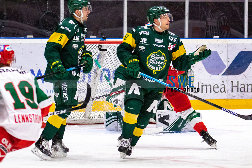2019-12-02 | Umeå, Sweden:Björklöven (12) Brian Cooper say what have i done in  HockeyAllsvenskan during the game  between Björklöven and Mora at A3 Arena ( Photo by: Michael Lundström | Swe Press Photo )<br /> <br /> Keywords: Umeå, Hockey, HockeyAllsvenskan, A3 Arena, Björklöven, Mora, mlbm191202