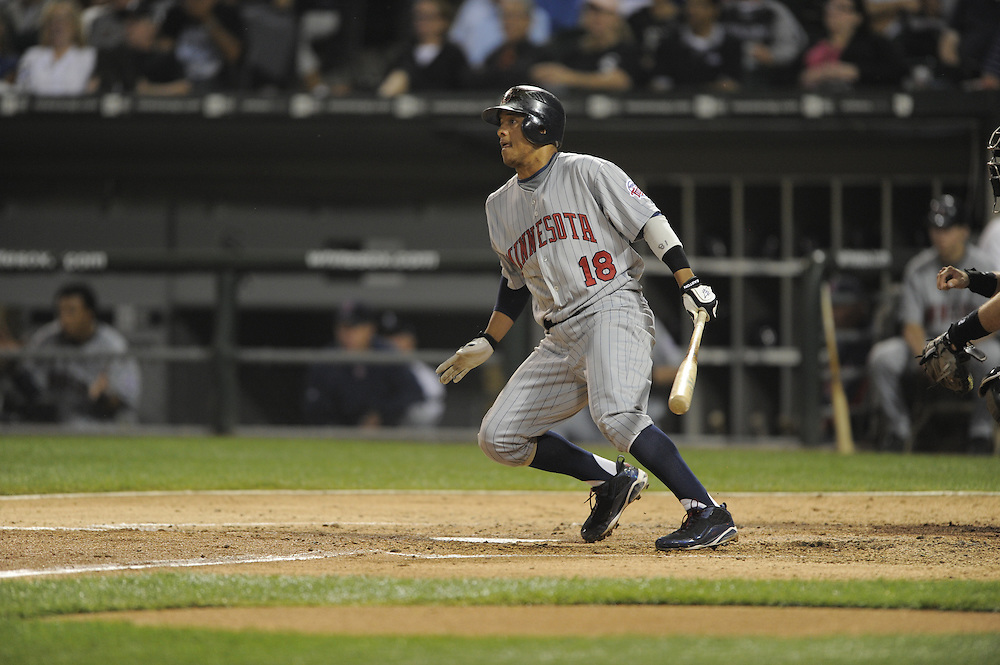 CHICAGO - SEPTEMBER 23:  Orlando Cabrera #18 of the Minnesota Twins bats against the Chicago White Sox on September 23, 2009 at U.S. Cellular Field in Chicago, Illinois.  The Twins defeated the White Sox 8-6.  (Photo by Ron Vesely)