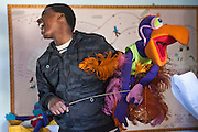 Lungelo sings with Vanda the vulture during rehearsals for 'No Monkey Business' AREPP: Theatre for Life provides interactive social life skills education to school children through theatre productions.