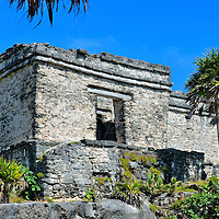 House of the Cenote at Mayan Ruins in Tulum, Mexico<br /> A cenote is a geological phenomenon of the Yucat&aacute;n Peninsula. It consists of a large pool of groundwater exposed after the bedrock has collapsed.  The Mayans used these natural wells for their fresh water. Therefore, it was common to build a home over these sinkholes.
