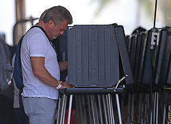 An unidentified men casting his vote during the midterm election in Miami-Dade County at Miami Beach Fire Station #3 on Tuesday, November 6, 2018. Photo by David Santiago/Miami Herald/TNS/ABACAPRESS.COM