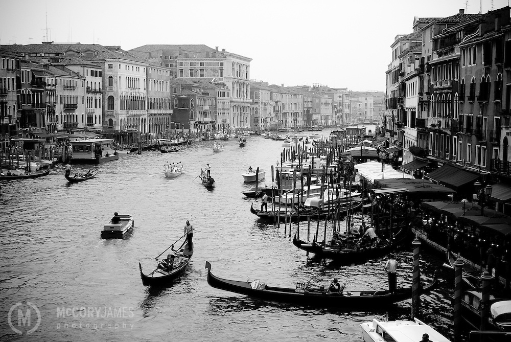 Gondolas and boats on the Grand Canal in Venice, Italy
