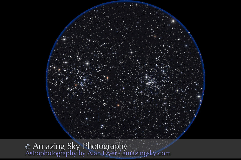 Double Cluster in Perseus, taken Oct 14, 2007 with 5-inch apo refractor at f/6 with Canon 20Da at ISO 800 for stack of 4 x 8 minute exposures. Some haze. Used ST402 guider.