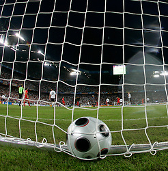 A general view of the ball in the net. 19.06.2008, Euro 2008, Germany v Portugal in Basel, Switzerland.