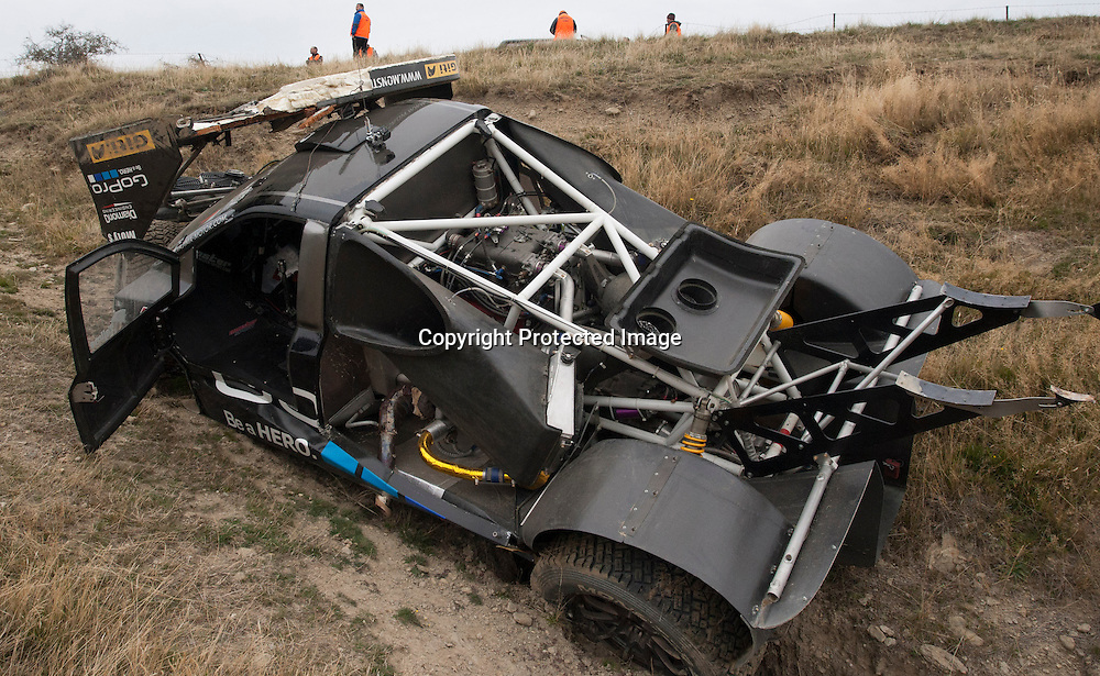 The remains of Nobuhiro Tajima (JPN) Toyota Super 86 at the Race to the Sky in the Cardrona Valley, Wanaka on the 19th April 2015/Photo:James Allan/www.photosport.co.nz