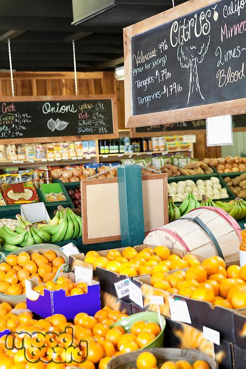 Fresh fruits displayed in market