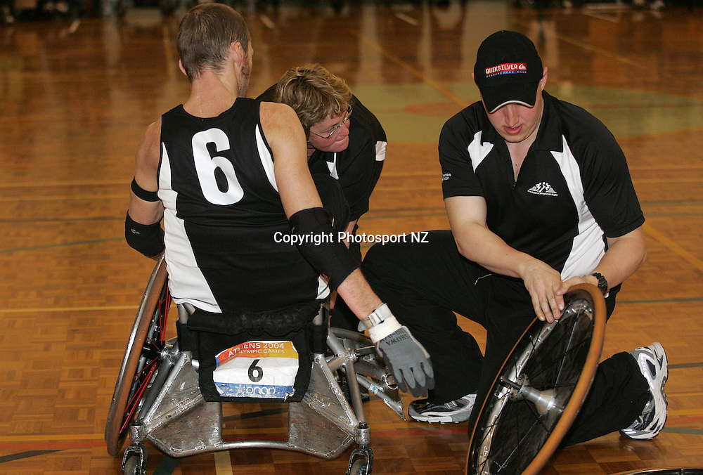 NZ Wheel Black Geremy Tinker gets a service during the Wheel Blacks 41-38 win over Canada in the Pacific Cup match at the Porirua Rec Centre in Wellington. 31st August 2005.<br /> Photo: Marty Melville/Photosport