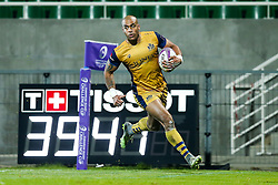 Tom Varndell of Bristol Rugby scores a try to become the all time leading tryscorer in the European Challenge Cup - Rogan Thomson/JMP - 16/12/2016 - RUGBY UNION - Stade du Hameau - Pau, France - Pau v Bristol Rugby - EPCR Challenge Cup.