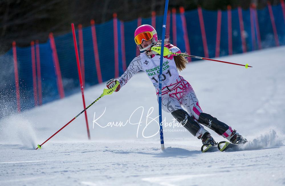 Piche Invitational slalom 2nd run U14 girls Sunday, March 17, 2013.  Karen Bobotas Photographer