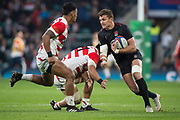 Twickenham, United Kingdom, Saturday, 17th  November 2018, RFU, Rugby, Stadium, England,  Henry SLADE, evade the tackles during the Quilter Autumn International, England vs Japan, © Peter Spurrier