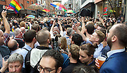 Vigil for the people murdered in the Pulse Club shooting in Orlando Florida by Omar Mateen<br /> in Old Compton Street, London, Great Britain <br /> 13th June 2016 <br /> <br /> Photograph by Elliott Franks <br /> Image licensed to Elliott Franks Photography Services
