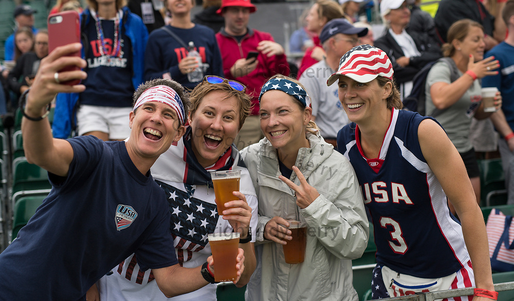USA's fans take aselfie before the quarter final against Israel at the 2017 FIL Rathbones Women's Lacrosse World Cup, at Surrey Sports Park, Guildford, Surrey, UK, 19th July 2017.