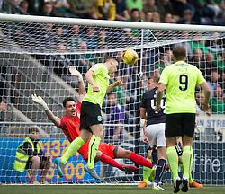 Hibernian's Paul Hanlon saves on the line. Falkirk 1 v 2 Hibernian, the first Scottish Championship game of season 2016/17, played 6/8/2016 at The Falkirk Stadium.
