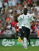 Photo: Lee Earle.<br /> England v Israel. UEFA European Championships Qualifying. 08/09/2007.Micah Richards celebrates after scoring England's third.