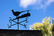 Metal weathervane in shape of pheasant show compass points North South East West on cottage in Swinbrook, The Cotswolds, UK