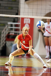 21 September 2007: Kasey Mollerus reaches down for a dig.  The Wichita State Shockers bested the the Illinois State Redbirds on the floor of Doug Collins Court in Redbird Arena on the campus of Illinois State University in Normal Illinois taking the match in three games.