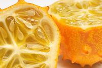 Kiwano fruit crossection, close-up