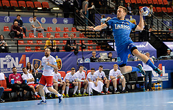 Gal Marguc of Celje PL during handball match between Meshkov Brest and RK Celje Pivovarna Lasko in bronze medal match of SEHA- Gazprom League Final 4, on April 15, 2018 in Skopje, Macedonia. Photo by  Sportida