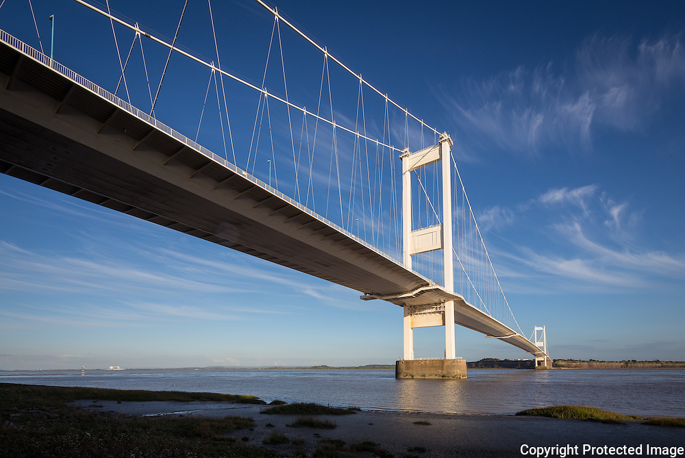 Severn Suspension Bridge  connecting England and Wales. Built 1966. Engineer: Gilbert Roberts, Freeman Fox & Partners