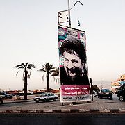 BEIRUT,LEBANON - JUNE 2009 :  Image of the Lebanese Shiite Muslim religious leader Imam Mussa al-Sadr, the founder of the Amal movement in the entrance of the Dahie district.  South  Beirut. Lebanon...
