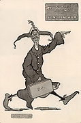 Dan Leno (1860-1904) born George Wild Galvin. Popular English cockney comedian and pantomime dame. Leno on his way to Sandringham to give a royal command performance to Edward VII. Cartoon by Will Owen (1869-1857) published 4 December 1901.