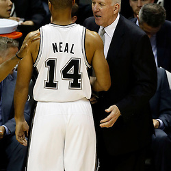 Jun 11, 2013; San Antonio, TX, USA; San Antonio Spurs head coach Gregg Popovich talks to San Antonio Spurs point guard Gary Neal (14) against the Miami Heat in the second quarter during game three of the 2013 NBA Finals at the AT&T Center. Mandatory Credit: Derick E. Hingle-USA TODAY Sports