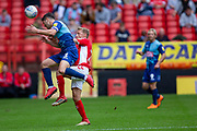 Wycombe Wanderers Joe Jacobson(3) tussles with Charlton Athletic midfielder Chris Solly (20) during the EFL Sky Bet League 1 match between Charlton Athletic and Wycombe Wanderers at The Valley, London, England on 8 September 2018.