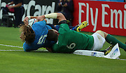 Italy's second row Josh Furno getting dragged into touch before he could score an Italian try during the Rugby World Cup Pool D match between Ireland and Italy at the Queen Elizabeth II Olympic Park, London, United Kingdom on 4 October 2015. Photo by Matthew Redman.