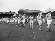 The Dublin team line out onto the pitch before the All Ireland Senior Gaelic Football Final Kerry v Dublin in Croke Park on the 25th September 1955. Kerry 00-12 Dublin 01-06.