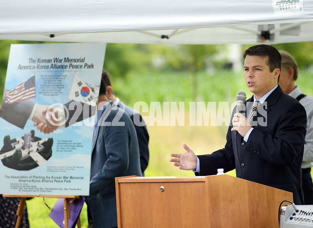 Congressman Brendan Boyle makes remarks during the groundbreaking ceremony for the construction of the Korean War Memorial, America-Korean Alliance Peace Park Tuesday, August 8, 2017 at Memorial Grove Park in North Wales, Pennsylvania. (WILLIAM THOMAS CAIN / For The Philadelphia Inquirer)