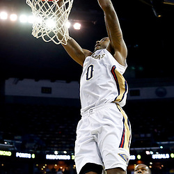 Dec 11, 2013; New Orleans, LA, USA; New Orleans Pelicans small forward Al-Farouq Aminu (0) dunks against the Detroit Pistons during the second quarter at New Orleans Arena. Mandatory Credit: Derick E. Hingle-USA TODAY Sports