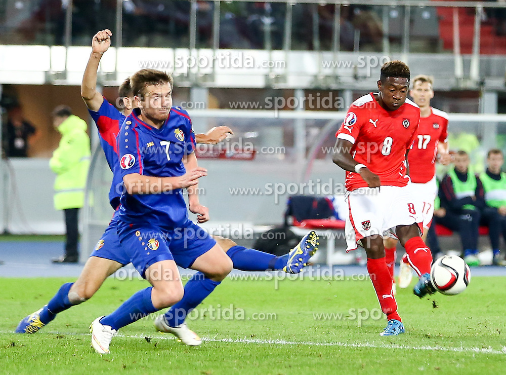 05.09.2015, Ernst Happel Stadion, Wien, AUT, UEFA Euro 2016 Qualifikation, Oesterreich vs Moldawien, Gruppe G, im Bild v.l. Andrei Cojocari (MDA) und David Alaba (AUT) // f.l.t.r. Andrei Cojocari (MDA), David Alaba (AUT) during the UEFA EURO 2016 qualifier group G match between Austria and Moldova at the Ernst Happel Stadion in Wien, Austria on 2015/09/05. EXPA Pictures © 2015, PhotoCredit: EXPA/ Alexander Forst