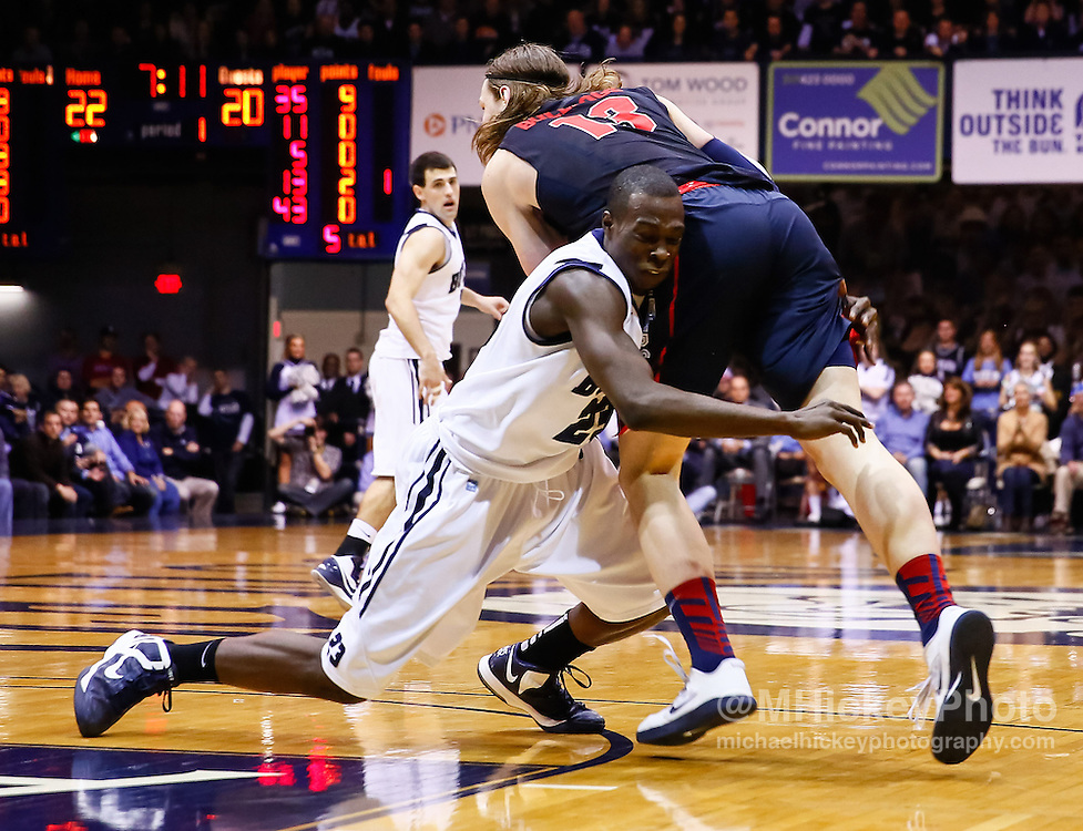 INDIANAPOLIS, IN - JANUARY 19: Khyle Marshall #23 of the Butler Bulldogs fouls Kelly Olynyk #13 of the Gonzaga Bulldogs at Hinkle Fieldhouse on January 19, 2013 in Indianapolis, Indiana. (Photo by Michael Hickey/Getty Images) *** Local Caption *** Khyle Marshall; Kelly Olynyk