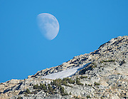 The moon rises over Eagle Cap Wilderness, Wallowa–Whitman National Forest, Wallowa Mountains, Columbia Plateau, northeastern Oregon, USA. Hike 7.3 miles from Two Pan Trailhead (5600 ft) up East Lostine River to camp at popular Mirror Lake (7606 ft). Day hike to Glacier Lake via Glacier Pass (6 miles round trip, 1200 ft gain). Backpack out 8.7 miles via Carper Pass, Minam Lake and West Fork Lostine. From September 11-13, 2016 Carol and I walked 22 miles in 3 days.