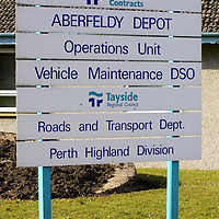 Aberfeldy depot protest...16.3.2001.<br />Aberfeldy Tayside Contracts Depot sign.<br /><br />Picture by John Lindsay.<br />COPYRIGHT: Perthshire Picture Agency<br />Tel: 01738 623350  Mob: 07775 852112