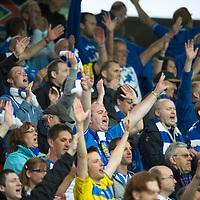 Rosenborg v St Johnstone....18.07.13  UEFA Europa League Qualifier.<br /> SANTS FANS CELEBRATE AT FULL TIME<br /> Picture by Graeme Hart.<br /> Copyright Perthshire Picture Agency<br /> Tel: 01738 623350  Mobile: 07990 594431