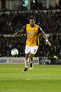 Hull midfielder Tom Huddlestone strikes the ball during the Sky Bet Championship match between Derby County and Hull City at the iPro Stadium, Derby, England on 5 April 2016. Photo by Aaron  Lupton.