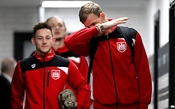Aden Flint of Bristol City dabs on arrival at The iPro stadium ahead of the Sky Bet Championship fixture with Derby County - Mandatory by-line: Robbie Stephenson/JMP - 11/02/2017 - FOOTBALL - iPro Stadium - Derby, England - Derby County v Bristol City - Sky Bet Championship