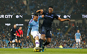 Manchester City forward Gabriel Jesus (9) in action with Everton defender Yerry Mina (13) during the Premier League match between Manchester City and Everton at the Etihad Stadium, Manchester, England on 1 January 2020.