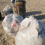 Overflowing Garbage cans at Miami Beach, Florida