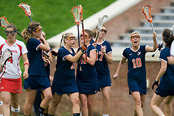 UVA celebrates after scoring a goal against Maryland.  The #3 ranked Virginia Cavaliers defeated the #2 ranked Maryland Terrapins 10-9 in overtime in the finals of the Women's 2008 Atlantic Coast Conference Lacrosse tournament at the University of Virginia's Scott Stadium in Charlottesville, VA on April 27, 2008.