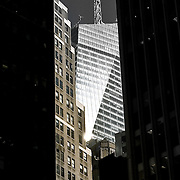 High contrast view looking up at NYC highrises