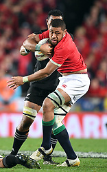 Toby Faletau of the Lions held in the tackle of Jerome Kaino of New Zealand in the third International rugby test match between the the New Zealand All Blacks and British and Irish Lions at Eden Park, Auckland, New Zealand, Saturday, July 08, 2017. Credit:SNPA / Ross Setford  **NO ARCHIVING""