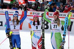 26.01.2018, Lenzerheide, SUI, FIS Weltcup Ski Alpin, Lenzerheide, Alpine Kombination, Damen, im Bild Marta Bassino (ITA, 2, Platz), Wendy Holdener (SUI, 1. Platz) and Ana Bucik (Slo, 3. Platz) // Marta Bassino (ITA, 2, Platz), Wendy Holdener (SUI, 1. Platz) and Ana Bucik (Slo, 3. Platz) reacts after the Slalom competition for the ladie's Alpine combination of the FIS ski alpine world cup in in Lenzerheide, Austria on 2018/01/26. EXPA Pictures © 2018, PhotoCredit: EXPA/ Sammy Minkoff<br /> <br /> *****ATTENTION - OUT of GER*****