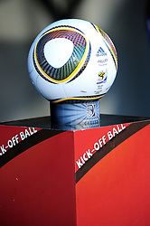 A detailed view of the Jubalani match ball before the 2010 World Cup Soccer match between South Africa and France played at the Freestate Stadium in Bloemfontein South Africa on 22 June 2010.