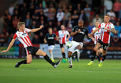 Jamie Grimes of Cheltenham Town blocks a Andre Ayew of West Ham United pass - Mandatory by-line: Paul Roberts/JMP - 23/08/2017 - FOOTBALL - LCI Rail Stadium - Cheltenham, England - Cheltenham Town v West Ham United - Carabao Cup