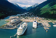 Alaska. Skagway. Aerial of cruise ships and town.