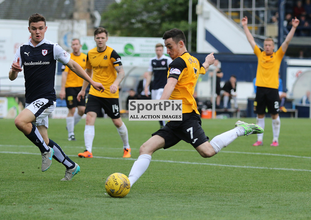 Kevin Cawley sends a got cross in during the Raith Rovers Fc v Dumbarton FC Scottish Championship 26th September 2015 <br /> <br /> (c) Andy Scott   SportPix.org.uk